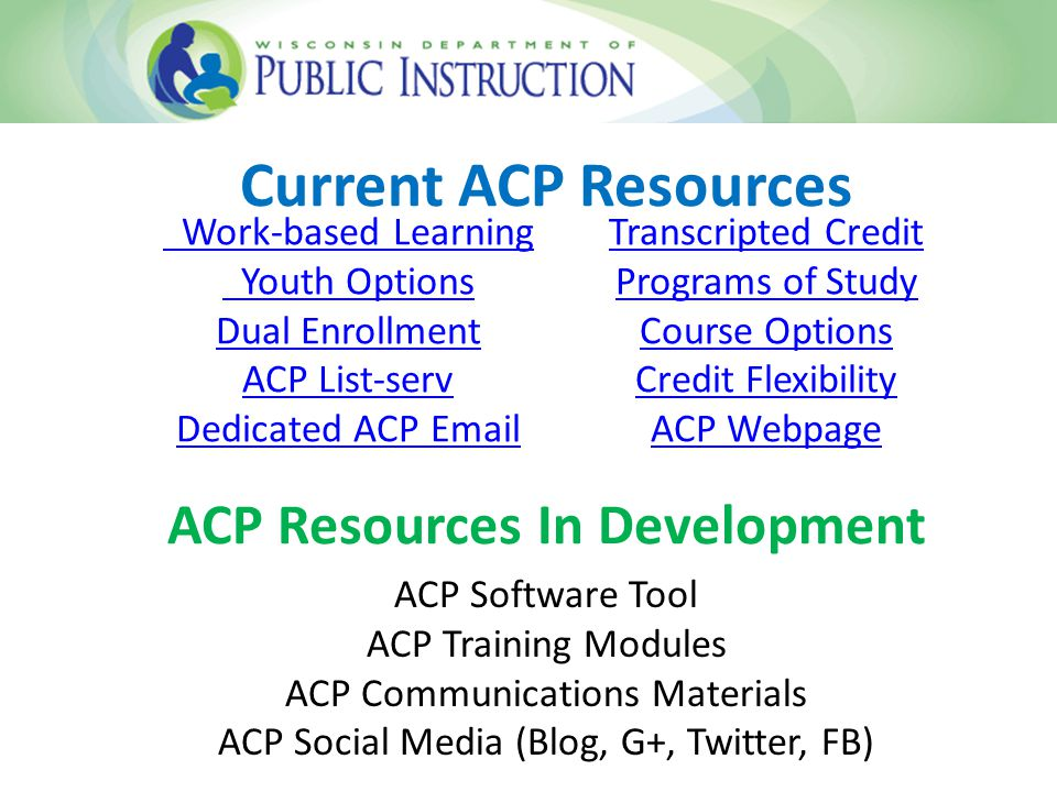 Current ACP Resources ACP Resources In Development Work-based Learning Youth Options Dual Enrollment ACP List-serv Dedicated ACP Email Transcripted Credit Programs of Study Course Options Credit Flexibility ACP Webpage ACP Software Tool ACP Training Modules ACP Communications Materials ACP Social Media (Blog, G+, Twitter, FB)
