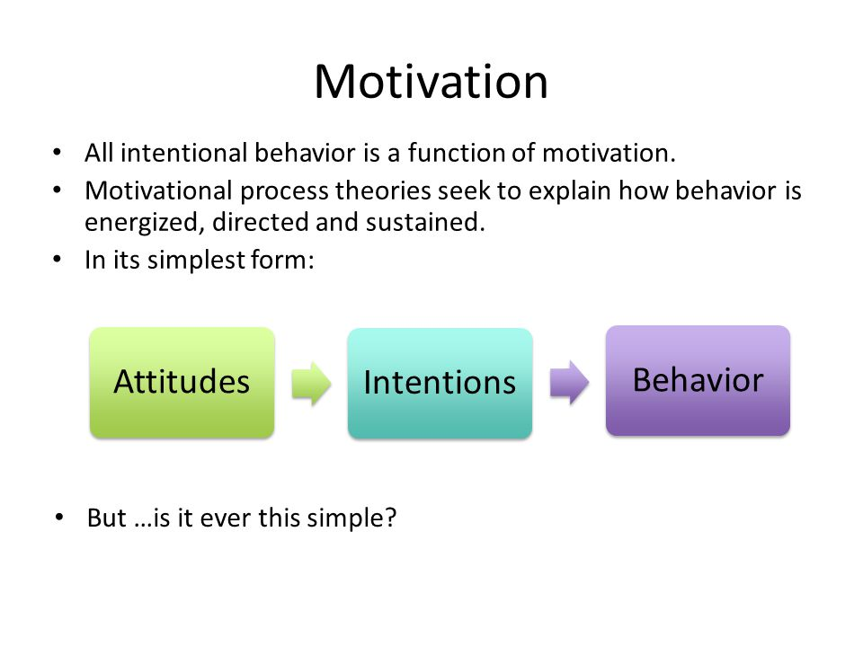 Motivation All intentional behavior is a function of motivation.