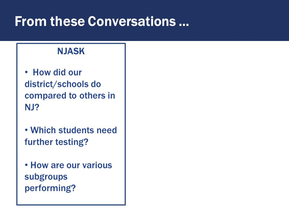 To These Conversations … PARCC How can we support individual teachers and identify best practices in the district.