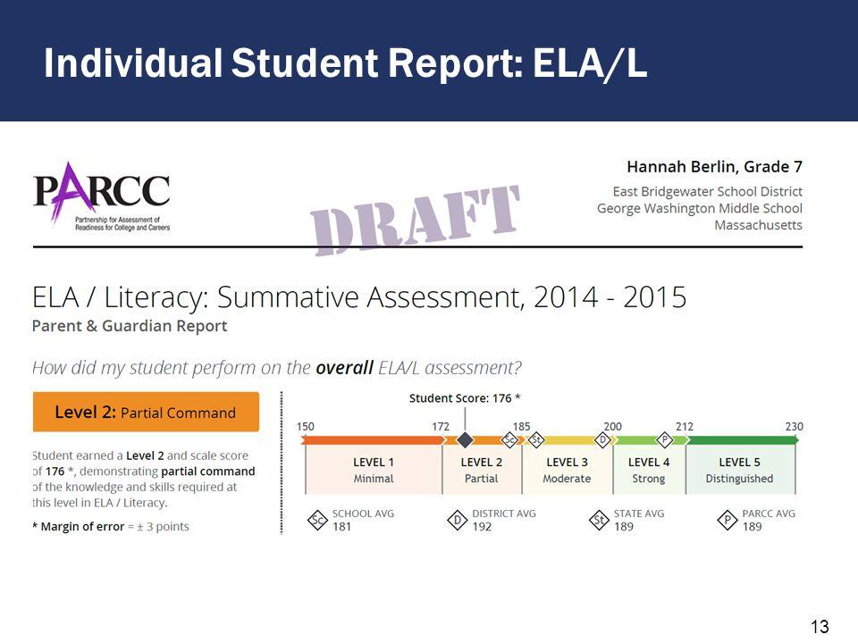 Individual Student Report: ELA/L 13