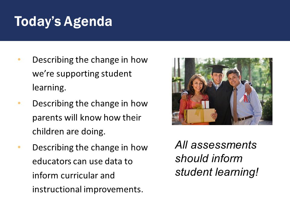Today's Agenda Describing the change in how we're supporting student learning.