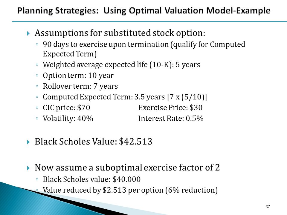  Assumptions for substituted stock option: ◦ 90 days to exercise upon termination (qualify for Computed Expected Term) ◦ Weighted average expected li
