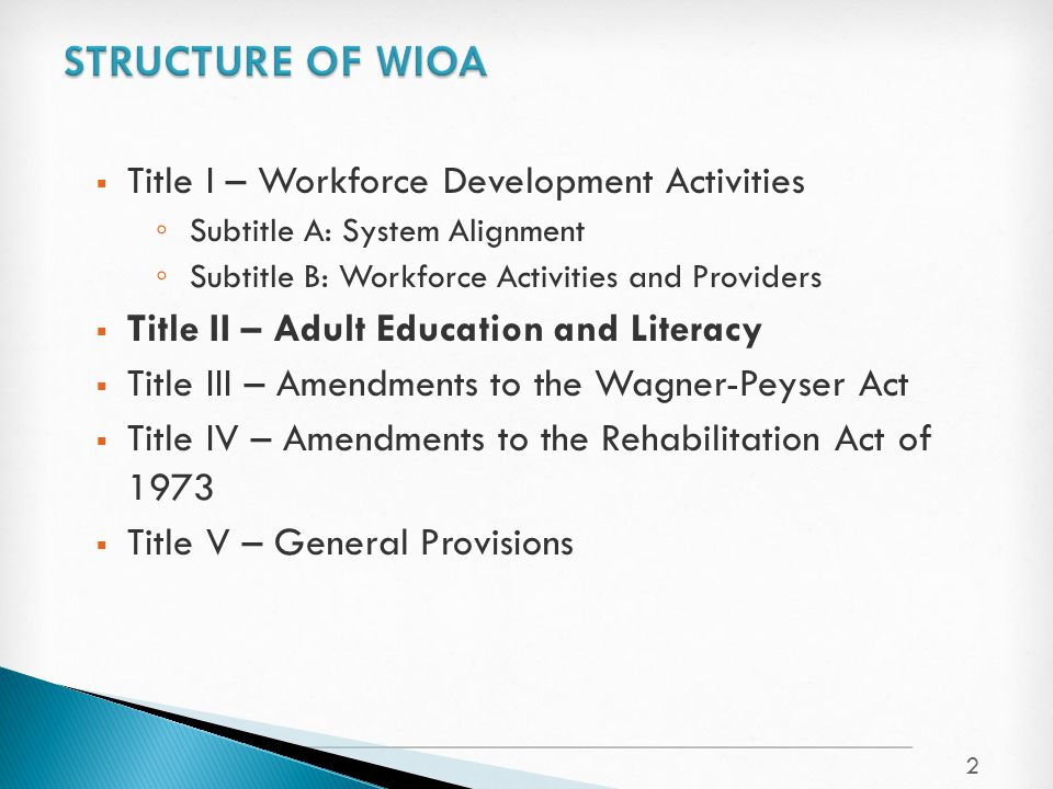  Title I – Workforce Development Activities ◦ Subtitle A: System Alignment ◦ Subtitle B: Workforce Activities and Providers  Title II – Adult Education and Literacy  Title III – Amendments to the Wagner-Peyser Act  Title IV – Amendments to the Rehabilitation Act of 1973  Title V – General Provisions 2
