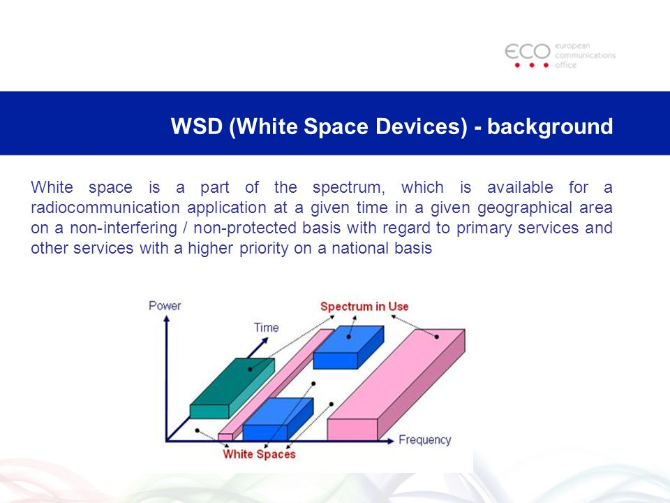 Techniques enabling introduction of TV WSD Sensing: conduct a measurement within a channel, to determine whether any protected service is present Geo-location: CR systems to define their location and consult a geo-location database to determine which frequencies they can use at their location Beacons: signals to indicate that particular channels are either in use by protected services or vacant