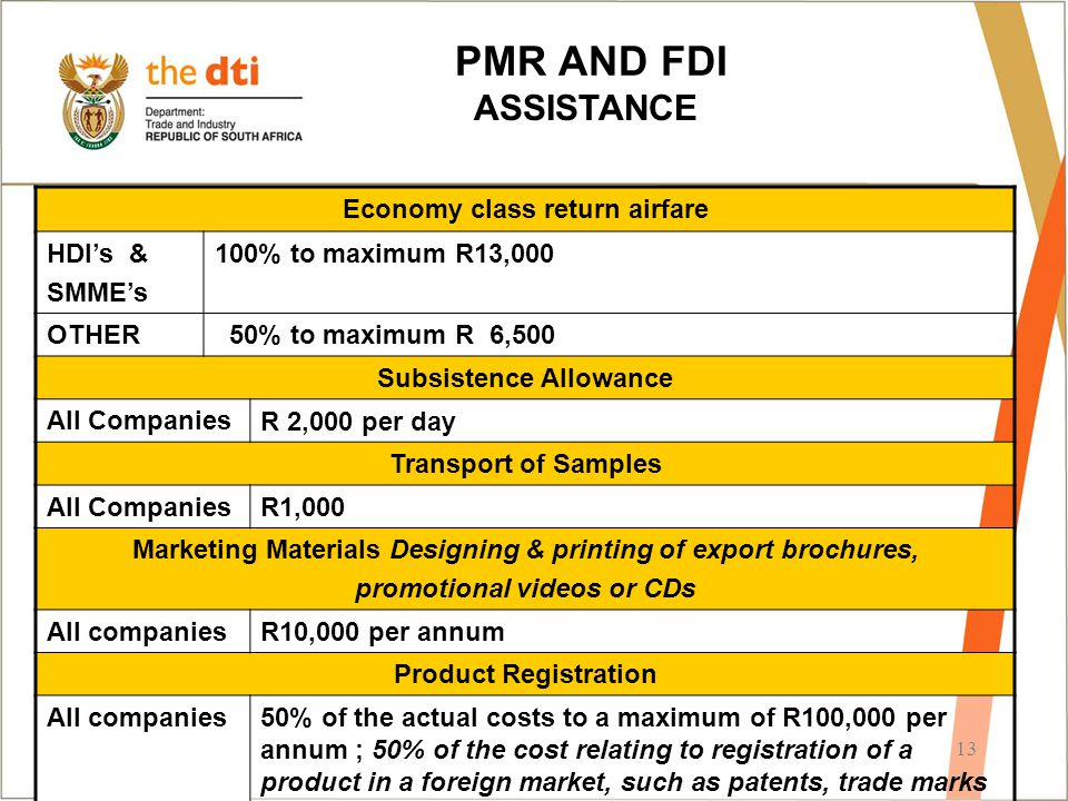 13 PMR AND FDI ASSISTANCE Economy class return airfare HDI's & SMME's 100% to maximum R13,000 OTHER 50% to maximum R 6,500 Subsistence Allowance All C