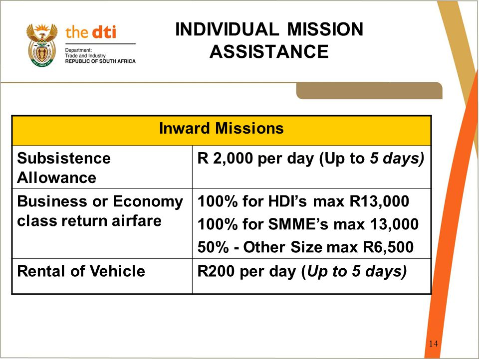 14 INDIVIDUAL MISSION ASSISTANCE Inward Missions Subsistence Allowance R 2,000 per day (Up to 5 days) Business or Economy class return airfare 100% for HDI's max R13,000 100% for SMME's max 13,000 50% - Other Size max R6,500 Rental of VehicleR200 per day (Up to 5 days)
