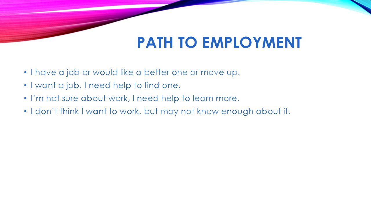 PATH TO EMPLOYMENT I have a job or would like a better one or move up. I want a job, I need help to find one. I'm not sure about work, I need help to