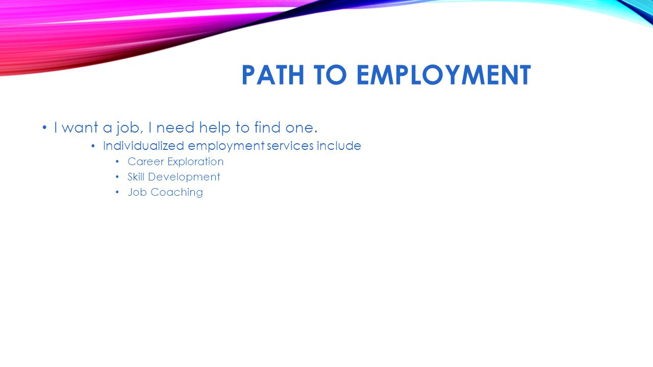 PATH TO EMPLOYMENT I want a job, I need help to find one.