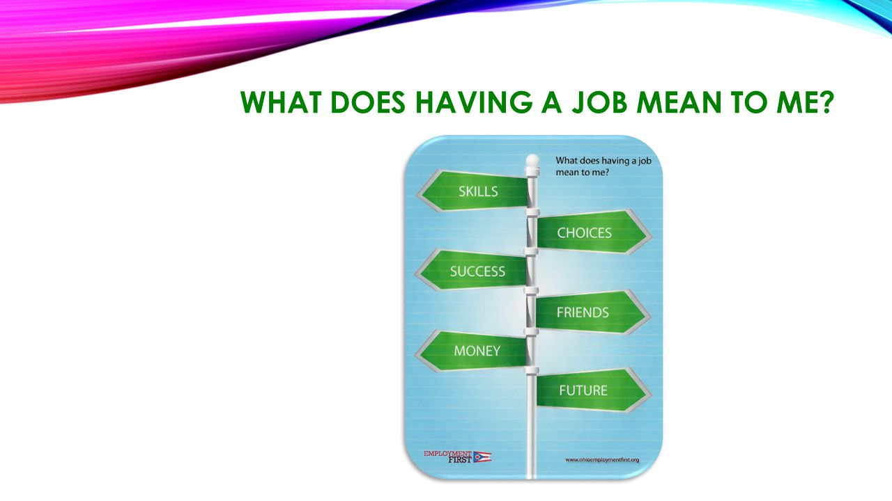 WHAT DOES HAVING A JOB MEAN TO ME?