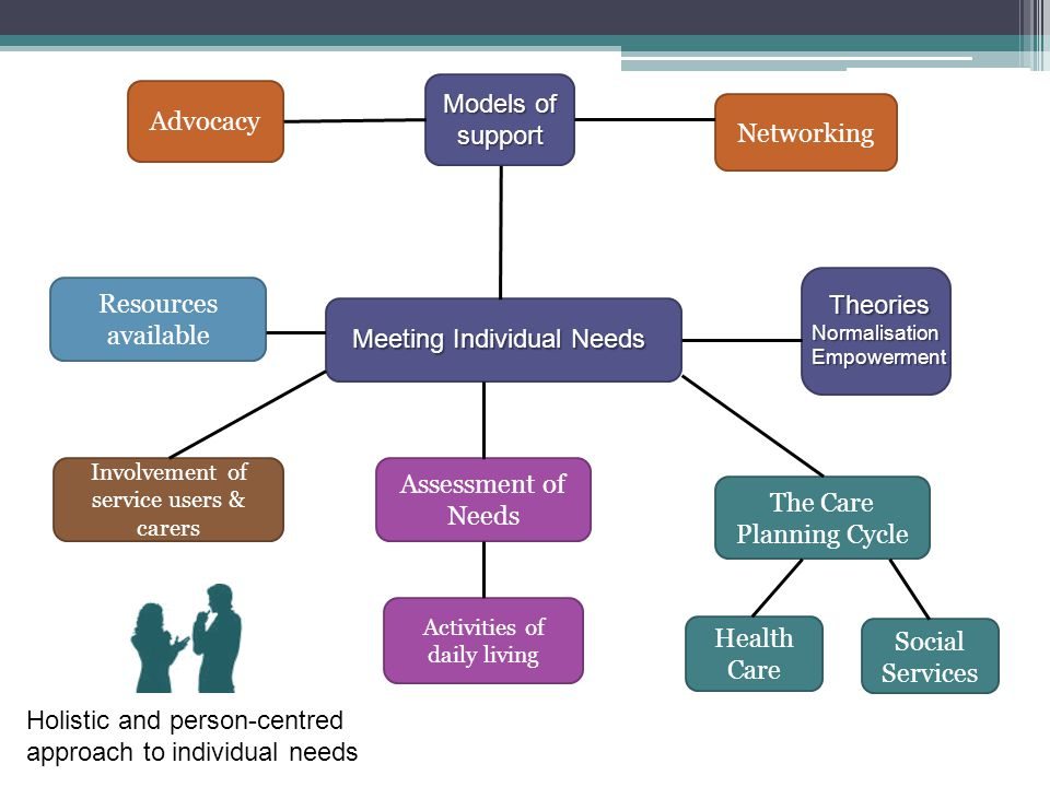 Meeting Individual Needs Models of support TheoriesNormalisationEmpowerment Networking The Care Planning Cycle Health Care Social Services Activities