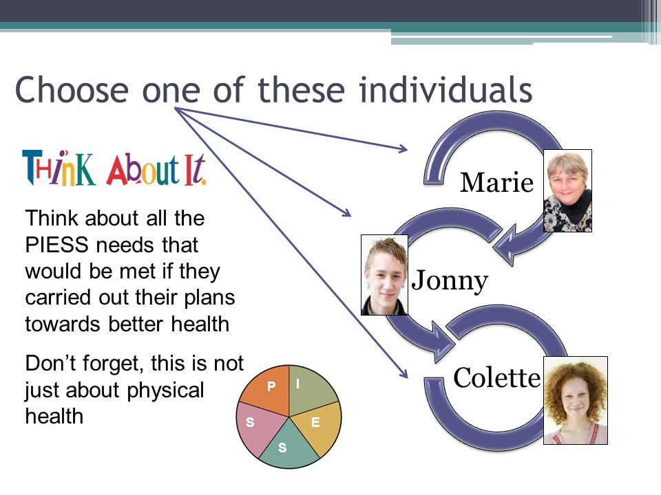 Choose one of these individuals Marie Jonny Colette Think about all the PIESS needs that would be met if they carried out their plans towards better h