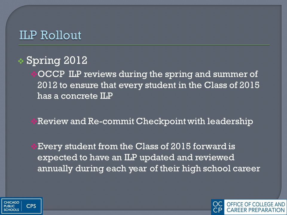  Spring 2012  OCCP ILP reviews during the spring and summer of 2012 to ensure that every student in the Class of 2015 has a concrete ILP  Review an