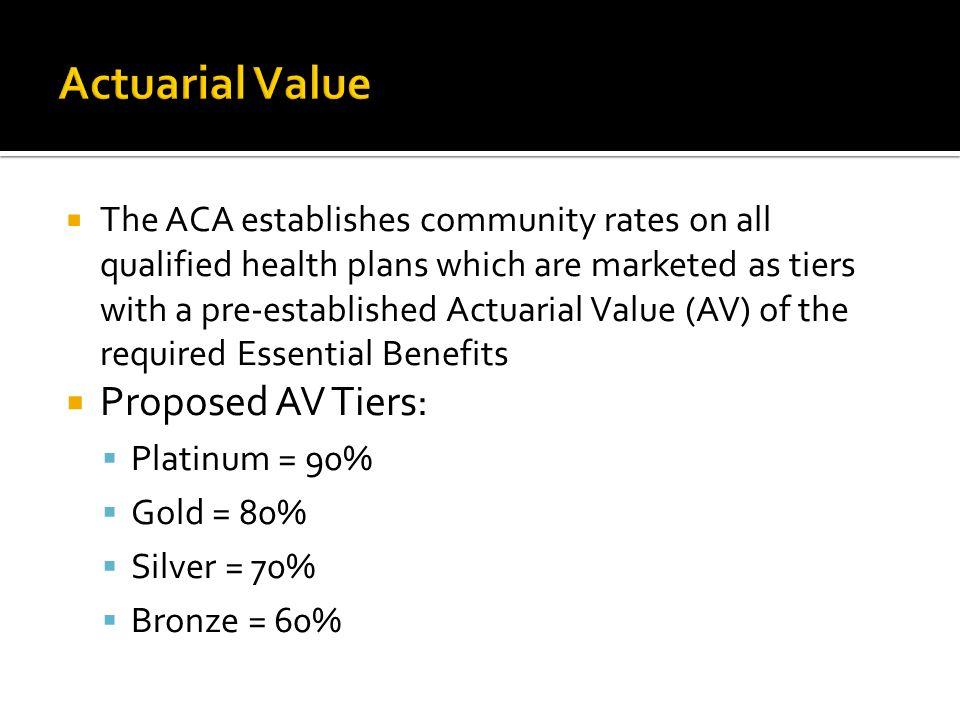  The ACA establishes community rates on all qualified health plans which are marketed as tiers with a pre-established Actuarial Value (AV) of the required Essential Benefits  Proposed AV Tiers:  Platinum = 90%  Gold = 80%  Silver = 70%  Bronze = 60%