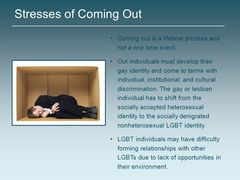 Stresses of Coming Out Coming out is a lifetime process and not a one time event. Out individuals must develop their gay identity and come to terms wi