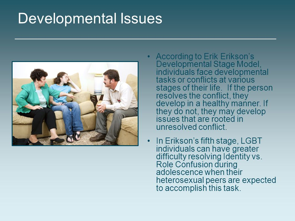 According to Erik Erikson's Developmental Stage Model, individuals face developmental tasks or conflicts at various stages of their life. If the perso