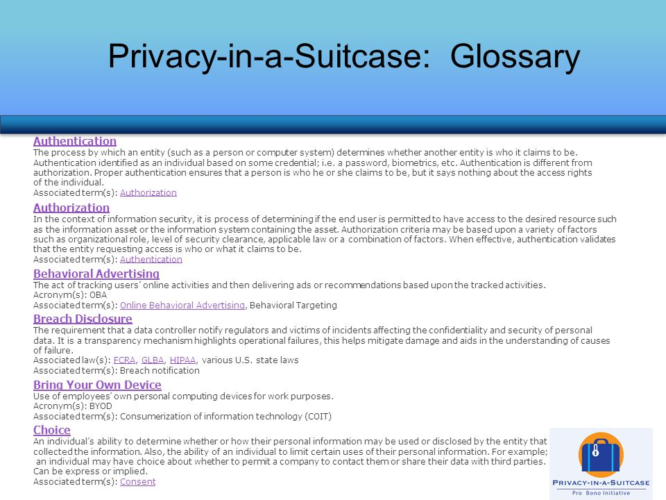 Privacy-in-a-Suitcase: Glossary Authentication The process by which an entity (such as a person or computer system) determines whether another entity is who it claims to be.