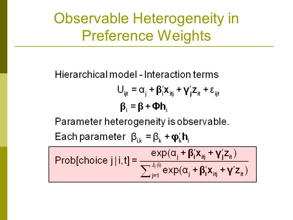 Observable Heterogeneity in Preference Weights