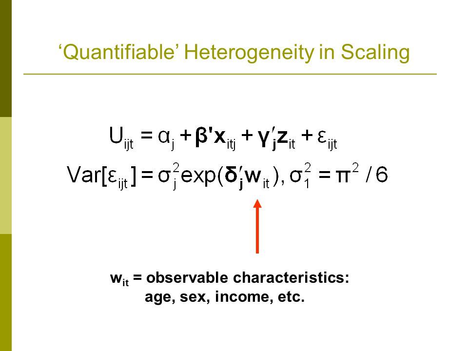 'Quantifiable' Heterogeneity in Scaling w it = observable characteristics: age, sex, income, etc.