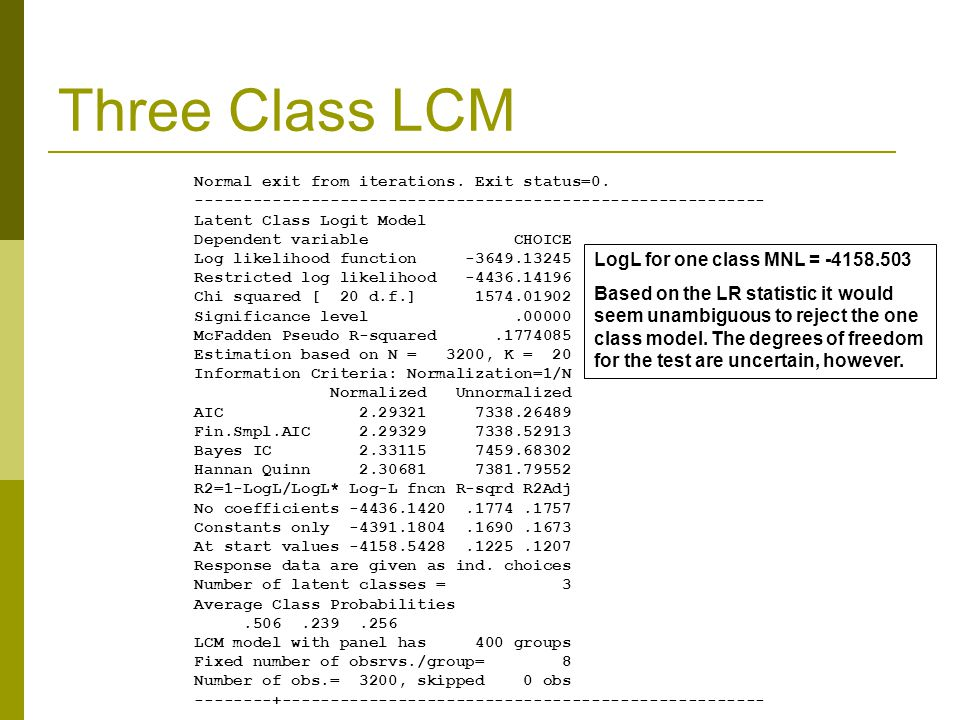 Three Class LCM Normal exit from iterations.Exit status=0.