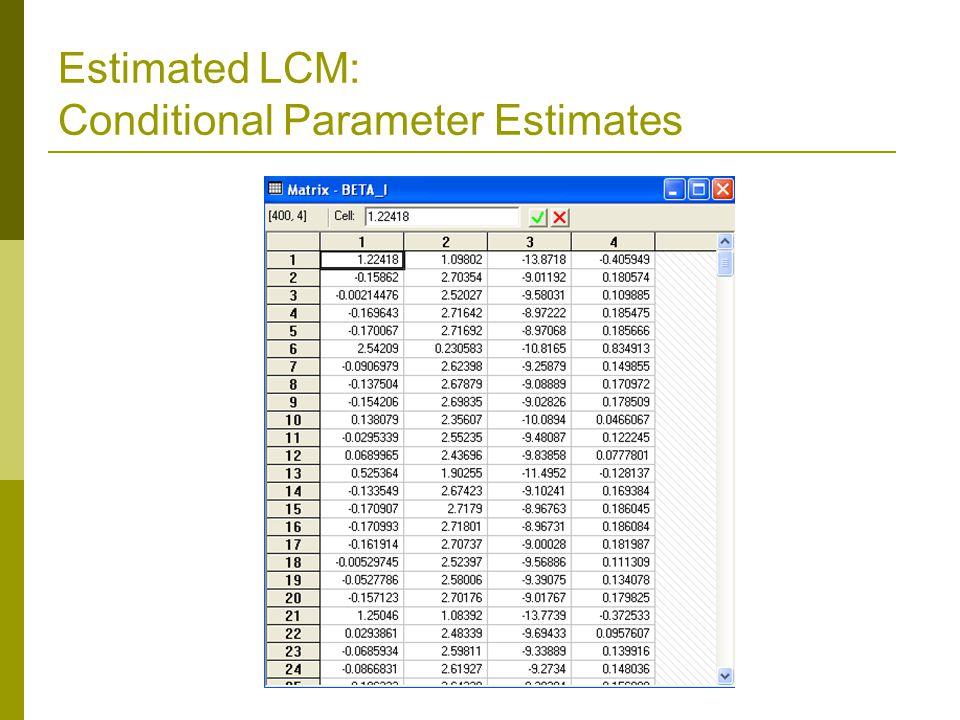 Estimated LCM: Conditional Parameter Estimates