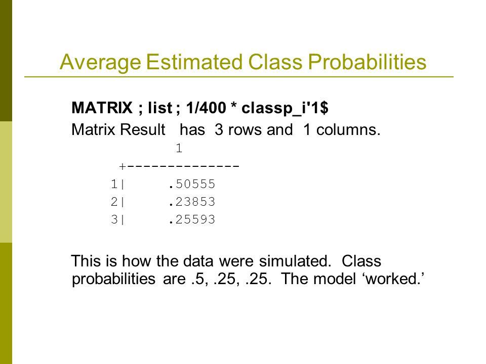 Average Estimated Class Probabilities MATRIX ; list ; 1/400 * classp_i'1$ Matrix Result has 3 rows and 1 columns. 1 +-------------- 1|.50555 2|.23853