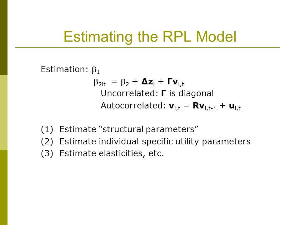 Estimating the RPL Model Estimation:  1  2it =  2 + Δz i + Γv i,t Uncorrelated: Γ is diagonal Autocorrelated: v i,t = Rv i,t-1 + u i,t (1) Estimate structural parameters (2) Estimate individual specific utility parameters (3) Estimate elasticities, etc.