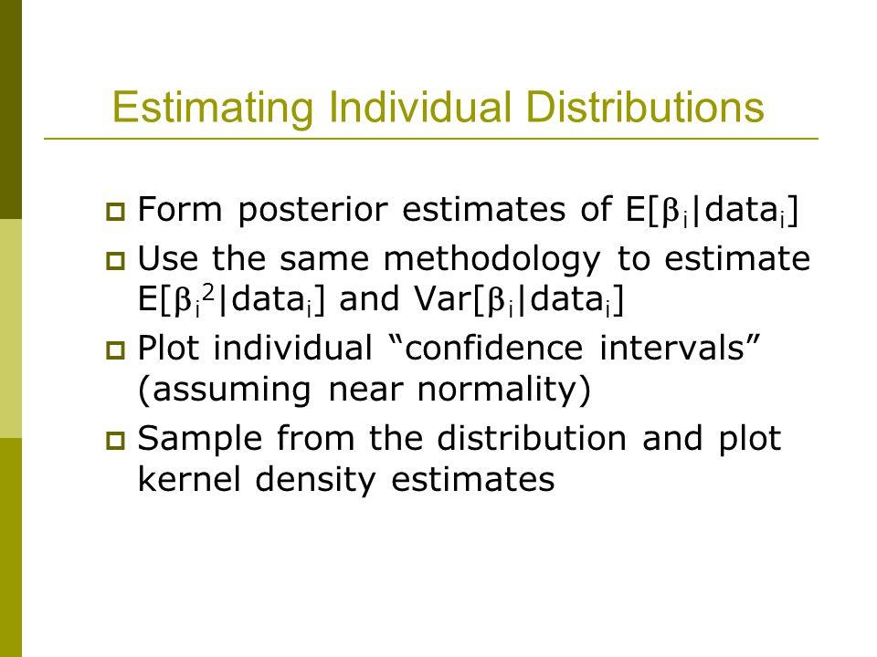 Estimating Individual Distributions  Form posterior estimates of E[ i |data i ]  Use the same methodology to estimate E[ i 2 |data i ] and Var[ i |data i ]  Plot individual confidence intervals (assuming near normality)  Sample from the distribution and plot kernel density estimates