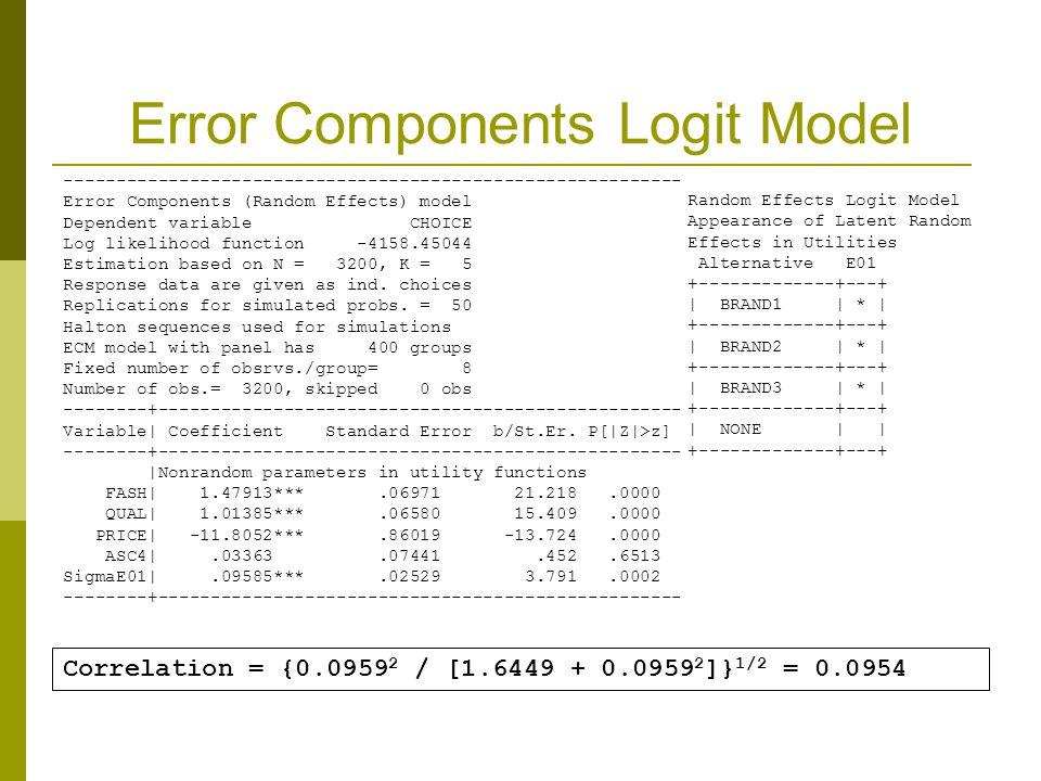 Error Components Logit Model Correlation = {0.0959 2 / [1.6449 + 0.0959 2 ]} 1/2 = 0.0954 -----------------------------------------------------------