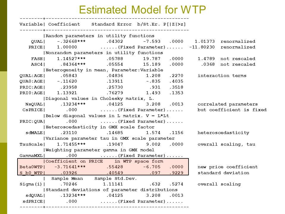 Estimated Model for WTP --------+-------------------------------------------------- Variable| Coefficient Standard Error b/St.Er. P[|Z|>z] --------+--