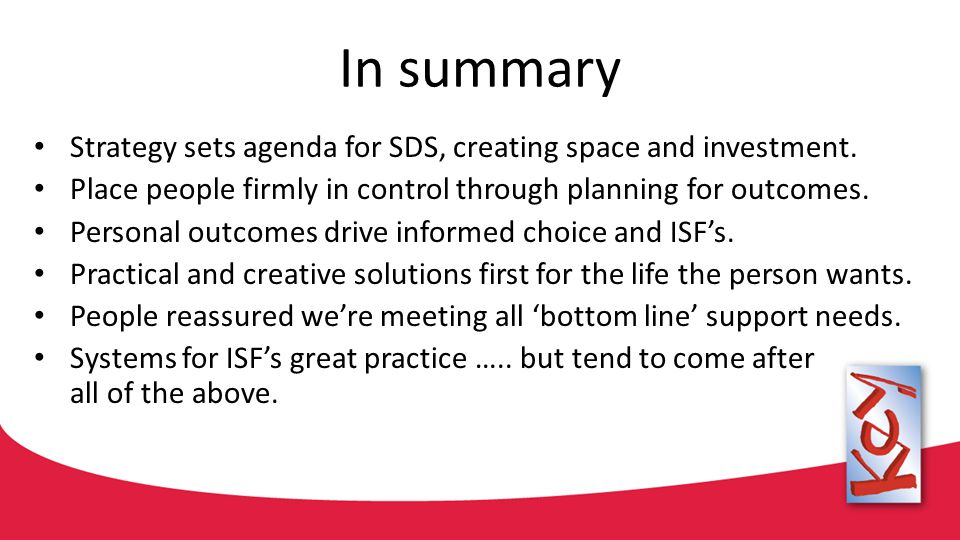 In summary Strategy sets agenda for SDS, creating space and investment.