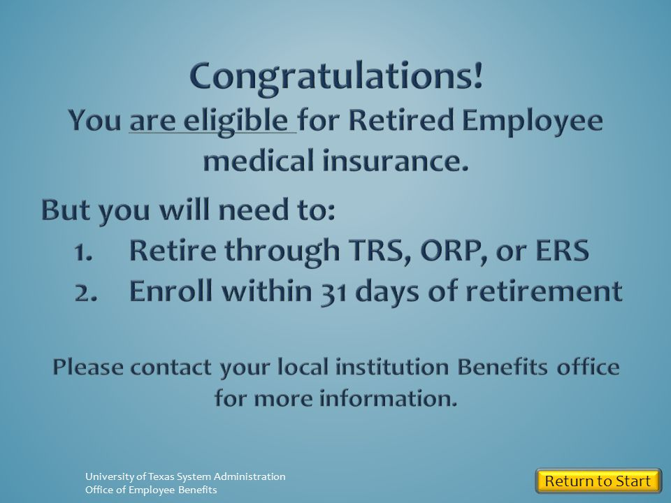 Return to Start University of Texas System Administration Office of Employee Benefits