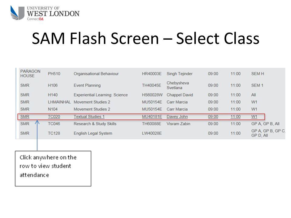 SAM Flash Screen – Select Class