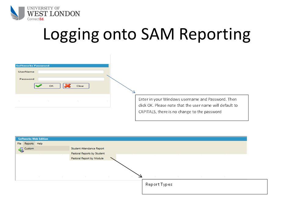 Logging onto SAM Reporting