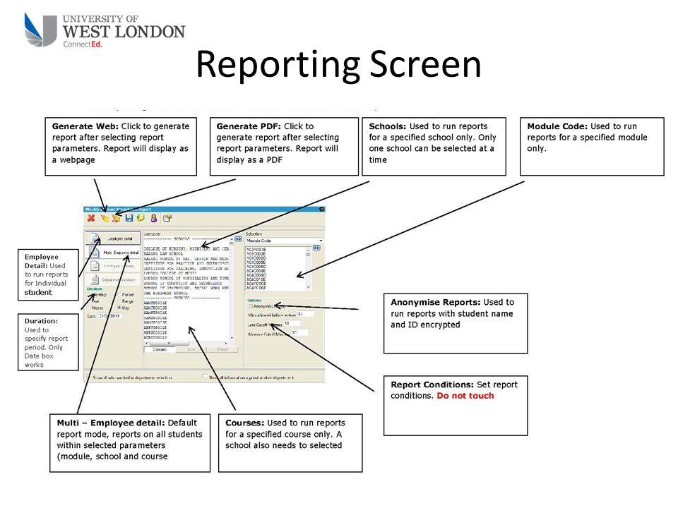 Reporting Screen