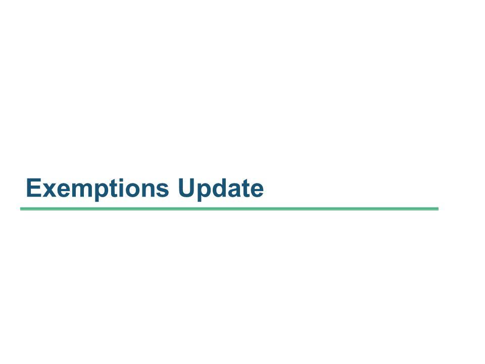 Exemptions Update