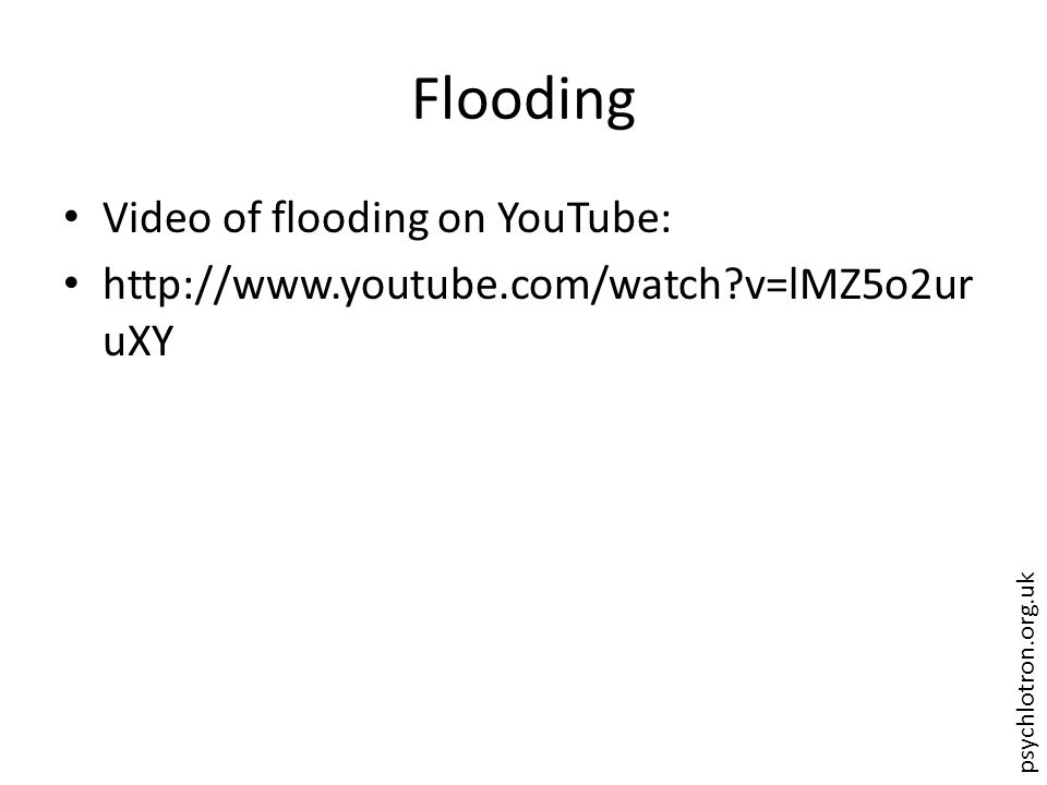 psychlotron.org.uk Flooding Video of flooding on YouTube: http://www.youtube.com/watch?v=lMZ5o2ur uXY