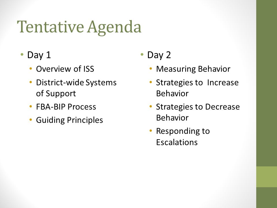 Tentative Agenda Day 1 Overview of ISS District-wide Systems of Support FBA-BIP Process Guiding Principles Day 2 Measuring Behavior Strategies to Increase Behavior Strategies to Decrease Behavior Responding to Escalations