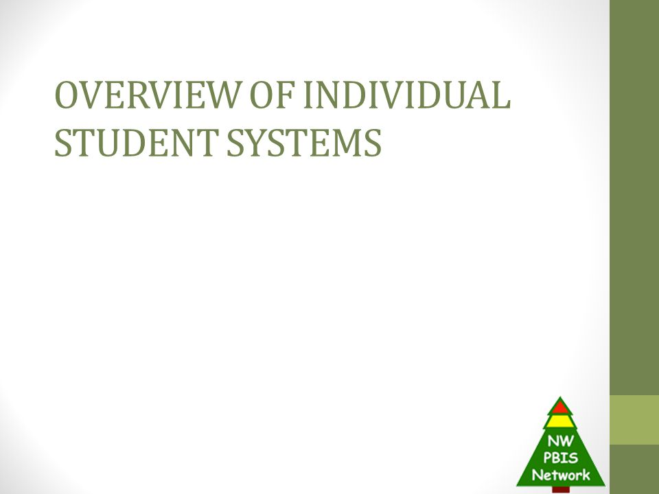 OVERVIEW OF INDIVIDUAL STUDENT SYSTEMS