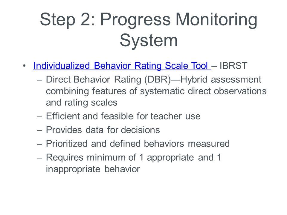 Step 2: Progress Monitoring System Individualized Behavior Rating Scale Tool – IBRSTIndividualized Behavior Rating Scale Tool –Direct Behavior Rating