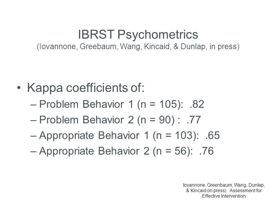 IBRST Psychometrics (Iovannone, Greebaum, Wang, Kincaid, & Dunlap, in press) Kappa coefficients of: –Problem Behavior 1 (n = 105):.82 –Problem Behavio