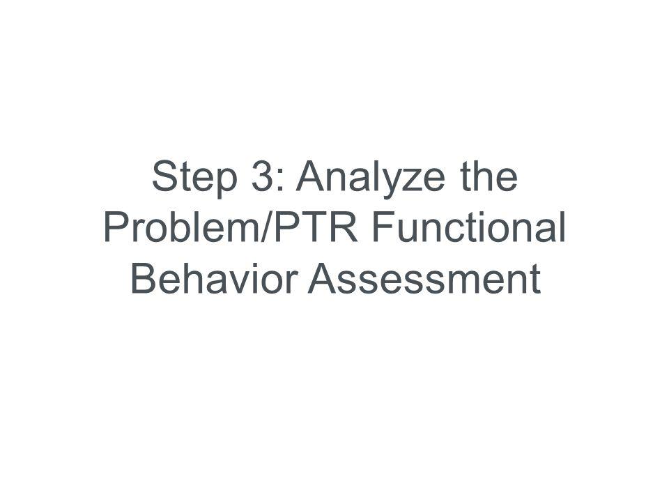 Step 3: Analyze the Problem/PTR Functional Behavior Assessment
