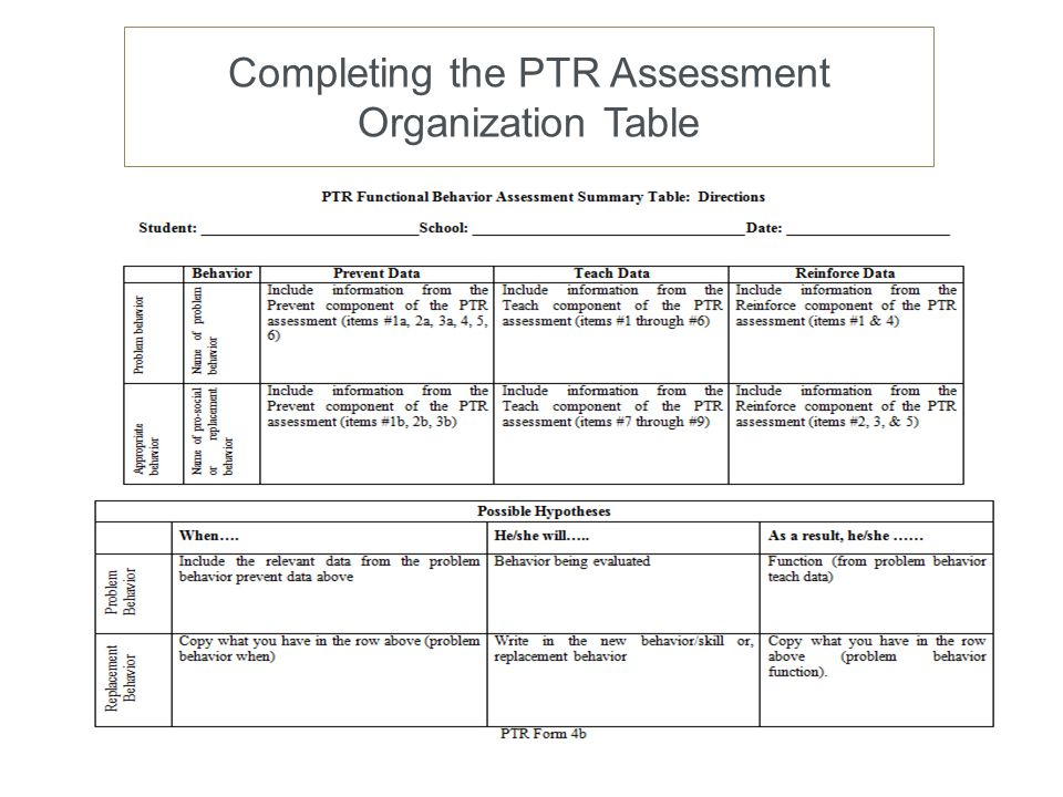 Completing the PTR Assessment Organization Table