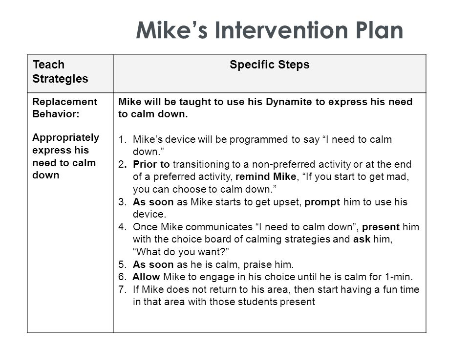 Mike's Intervention Plan Teach Strategies Specific Steps Replacement Behavior: Appropriately express his need to calm down Mike will be taught to use