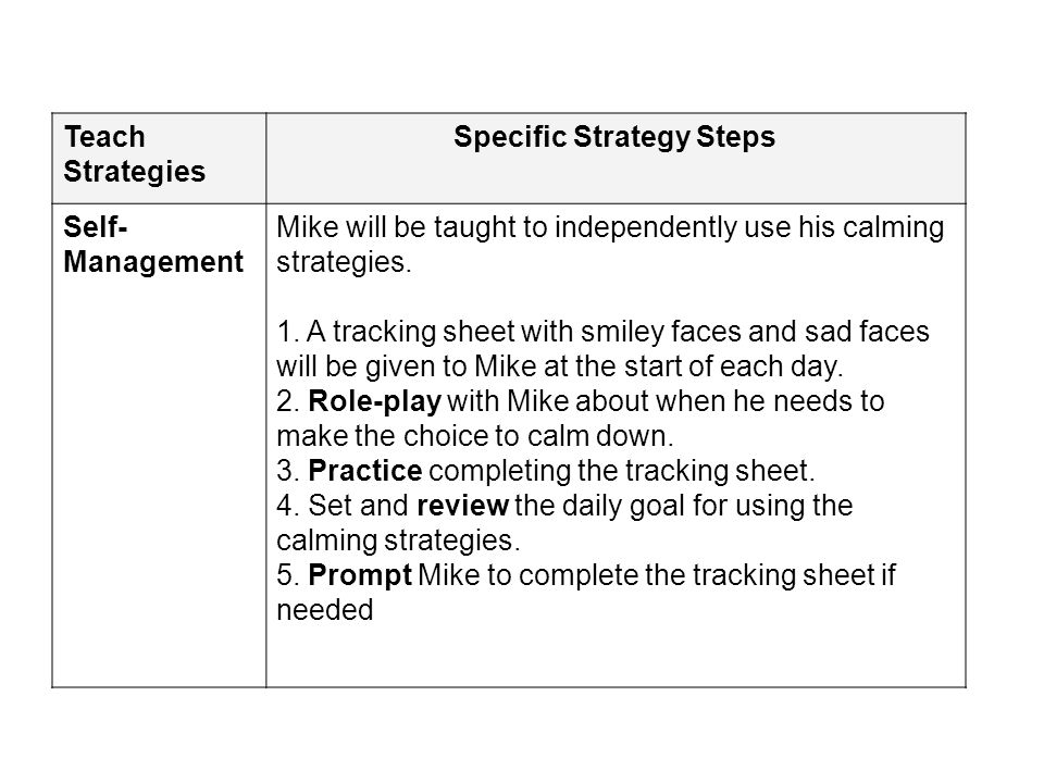 Teach Strategies Specific Strategy Steps Self- Management Mike will be taught to independently use his calming strategies. 1. A tracking sheet with sm