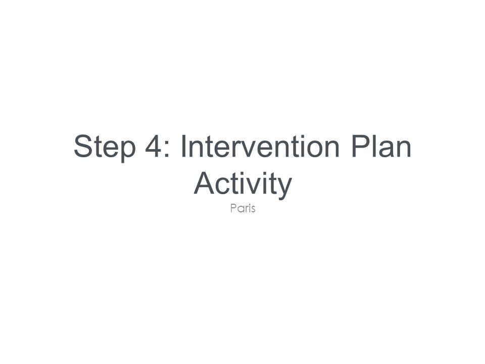 Step 4: Intervention Plan Activity Paris