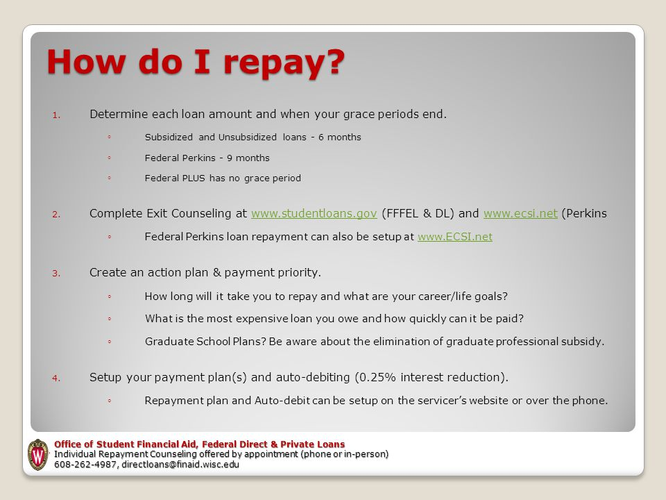 How do I repay. 1. Determine each loan amount and when your grace periods end.