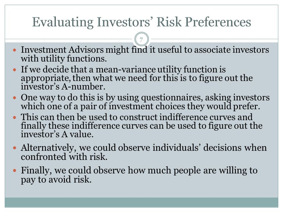 18 If we assume that the average investor has 85% in the broad portfolio of risky assets in the marketplace (based on data from 2009), and noting that the average return on the S&P from 1926 to 2009 is about 7.9% with an annual std deviation of 20.8%, we can reverse solve the equation for the optimal portfolio to get an estimate of the risk aversion coefficient A for the average investor.