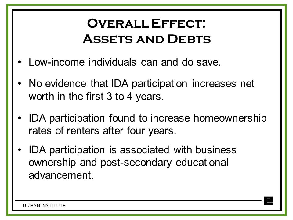 Overall Effect: Assets and Debts Low-income individuals can and do save. No evidence that IDA participation increases net worth in the first 3 to 4 ye