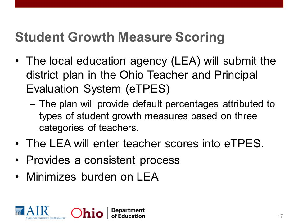 The local education agency (LEA) will submit the district plan in the Ohio Teacher and Principal Evaluation System (eTPES) –The plan will provide defa