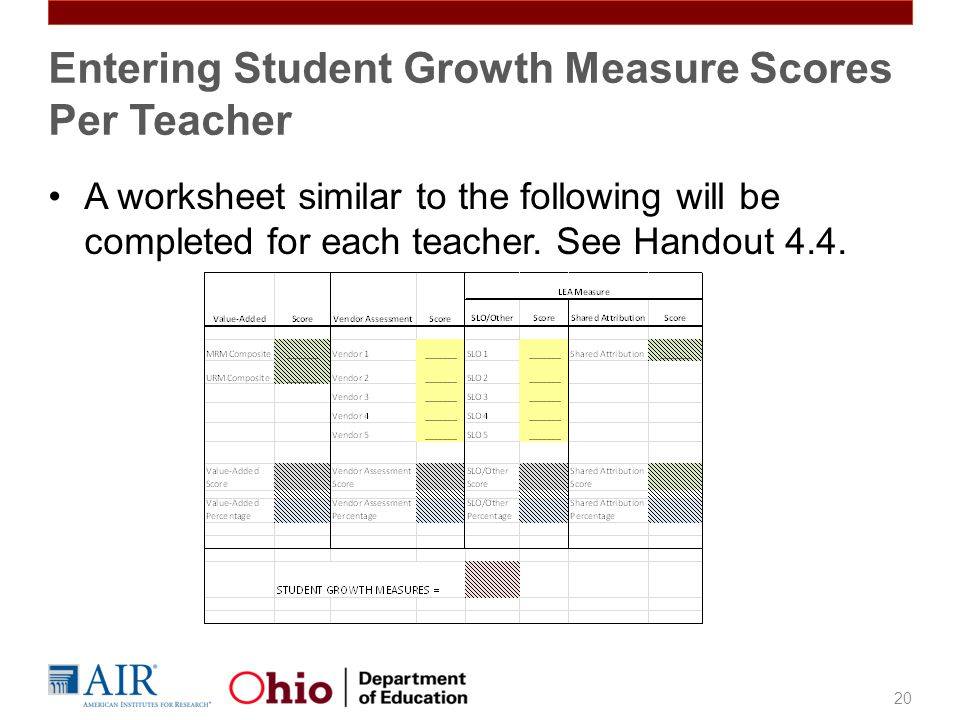 A worksheet similar to the following will be completed for each teacher. See Handout 4.4. 20 Entering Student Growth Measure Scores Per Teacher